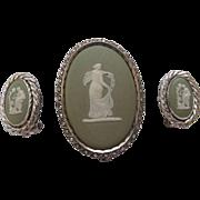 1960's Wedgwood Sterling & Green Jasperware Brooch & Earrings