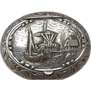 Dutch Repousse Silver Plated Snuff/ Pill Box