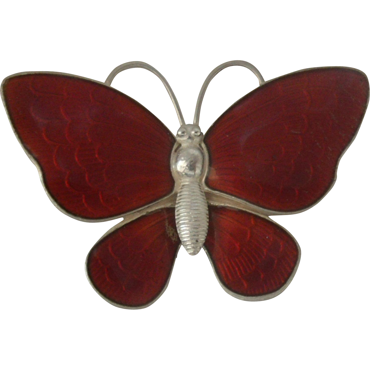 Volmer Bahner Danish Sterling Guilloche Butterfly