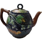 Antique Majolica Teapot Cobalt Blackberry & Basketweave