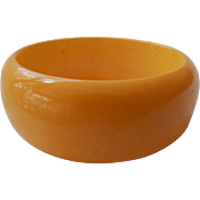Wide Butterscotch Bakelite Bangle Bracelet