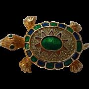 Polcini Enamel & Rhinestone Turtle Brooch