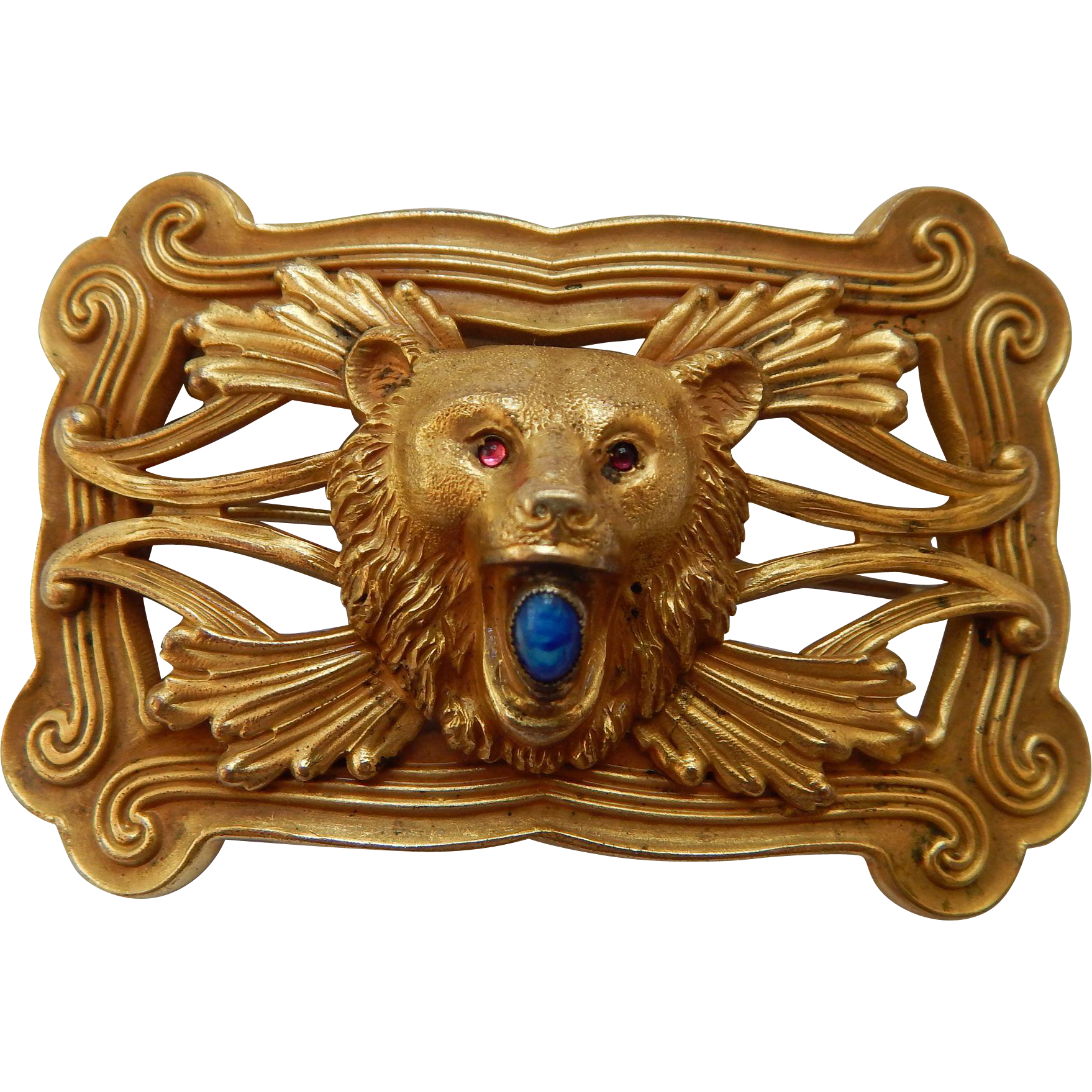 Art Nouveau Bear Sash Pin