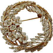 Alice Caviness White Washed Flower Wreath Brooch