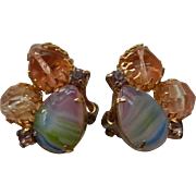 Pastel Rainbow Clip Earrings