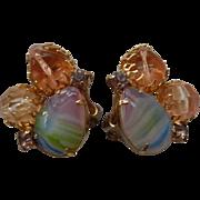 Pastel Rainbow Clip Earrings