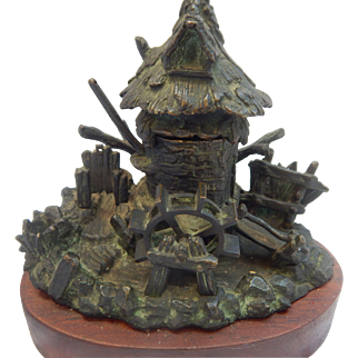 Patina'd Bronze Water Mill Figural Ink Well