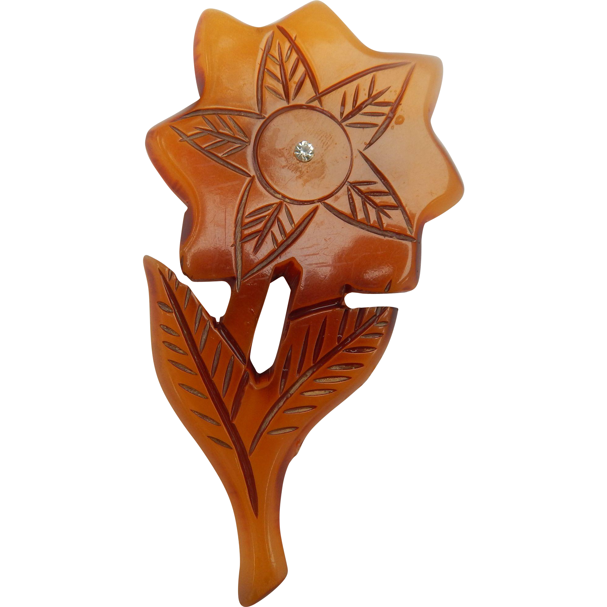 Huge Carved Lucite Flower Brooch