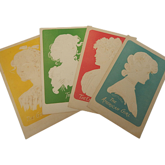4 Victorian Raised Cameo Postcards