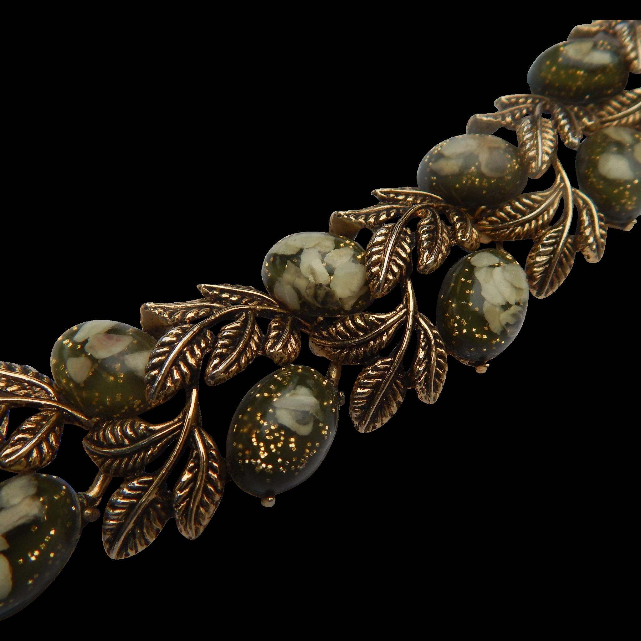 Confetti Lucite & Gold Leaf Bracelet