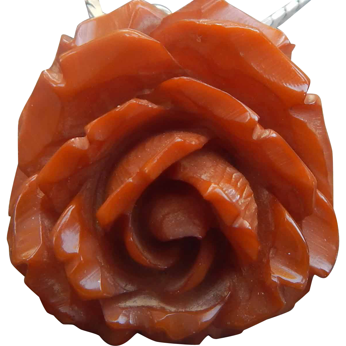Heavily Carved Bakelite Rose on Sterling