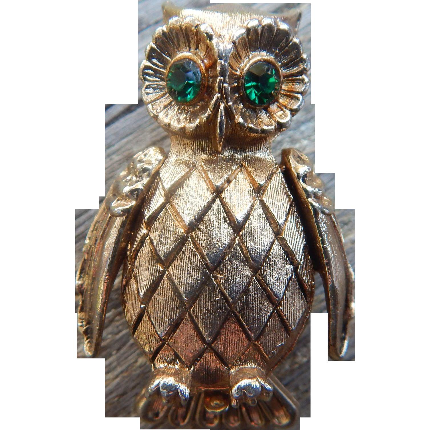 Vintage Vanda Perfume Owl Brooch