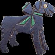 Vintage Wooden Dog Brooch Terrier / Schnauzer