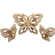 Trifari Pink Enameled Butterfly Set