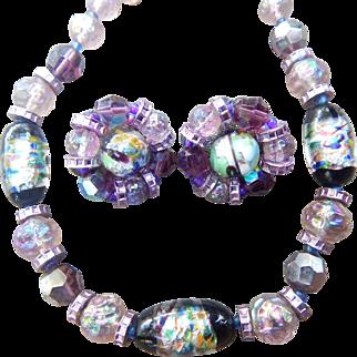 Stunning Hobe Purple Art Glass Set