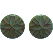 Carved Green Bakelite Earrings