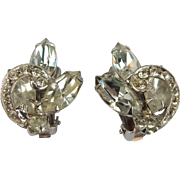 Weiss Rhinesone Clip Earrings