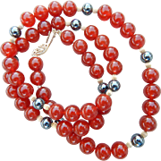 Carnelian & Hematite Beaded Necklace
