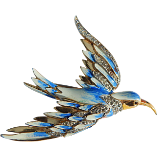 Coro Sterling & Enamel Sun Bird Brooch
