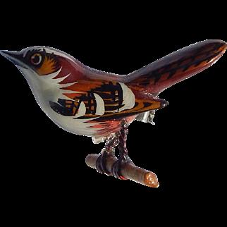 Takahashi Hand Carved Wren Bird Brooch