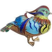 Chinese Enameled Silver Bird Brooch