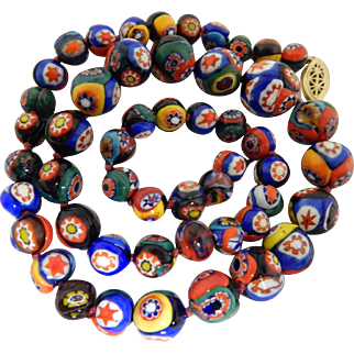 Colorful Beaded Millefiori Necklace