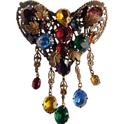 Early Czech Dangling Heart Brooch