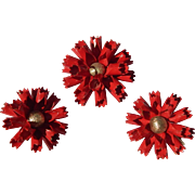 Bergere Red Enameled Flower Set
