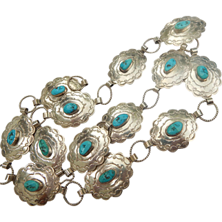 Native American Sterling & Turquoise Concho Belt Manygoats