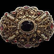 Austro Hungarian .835 Garnet & Seed Pearl Brooch