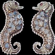 Reja Sterling & Moonstone Seahorse Pair