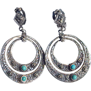 Persian Silver & Turquoise Clip Earrings
