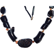 Chunky Black Coral Necklace