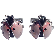Swank Pink Ladybug Cuff Links