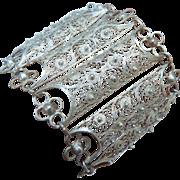 Wide Silver Filigree Bracelet