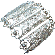 Wide Silver Filigree Bracelet