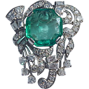GIA Emerald Platinum Diamond Brooch/Pendant