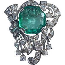 GIA Emerald Platinum Diamond Brooch/Pendant