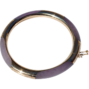 Lavender Jade & 14K Gold Bangle Bracelet