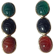 14K Gold Onyx, Chrysoprase & Carnelian Scarab Earrings