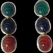 14K Gold Onyx, Chrysoprase & Carnelian Scarab Earrings