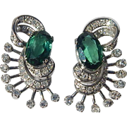 GIA Platinum, Diamond & Tourmaline Earrings