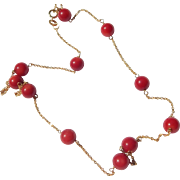 14K Red Coral Necklace