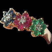 14K Diamond, Sapphire, Ruby, Emerald Ring