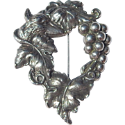 Lg Silver Pl. Fox In Grape Leaves Brooch