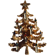 Art Christmas Candelabra Tree Brooch
