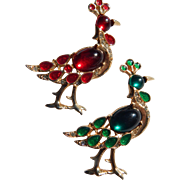 Christmas Pheasants Brooch Pair