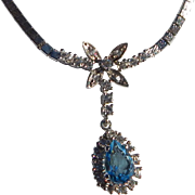 Rhodium Plated Sterling Rhinestone Necklace
