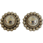 Mexican Sterling Button Earrings