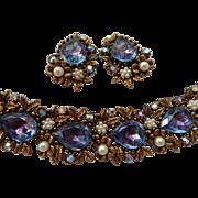 Art Purple Watermelon Stone Bracelet & Earrings